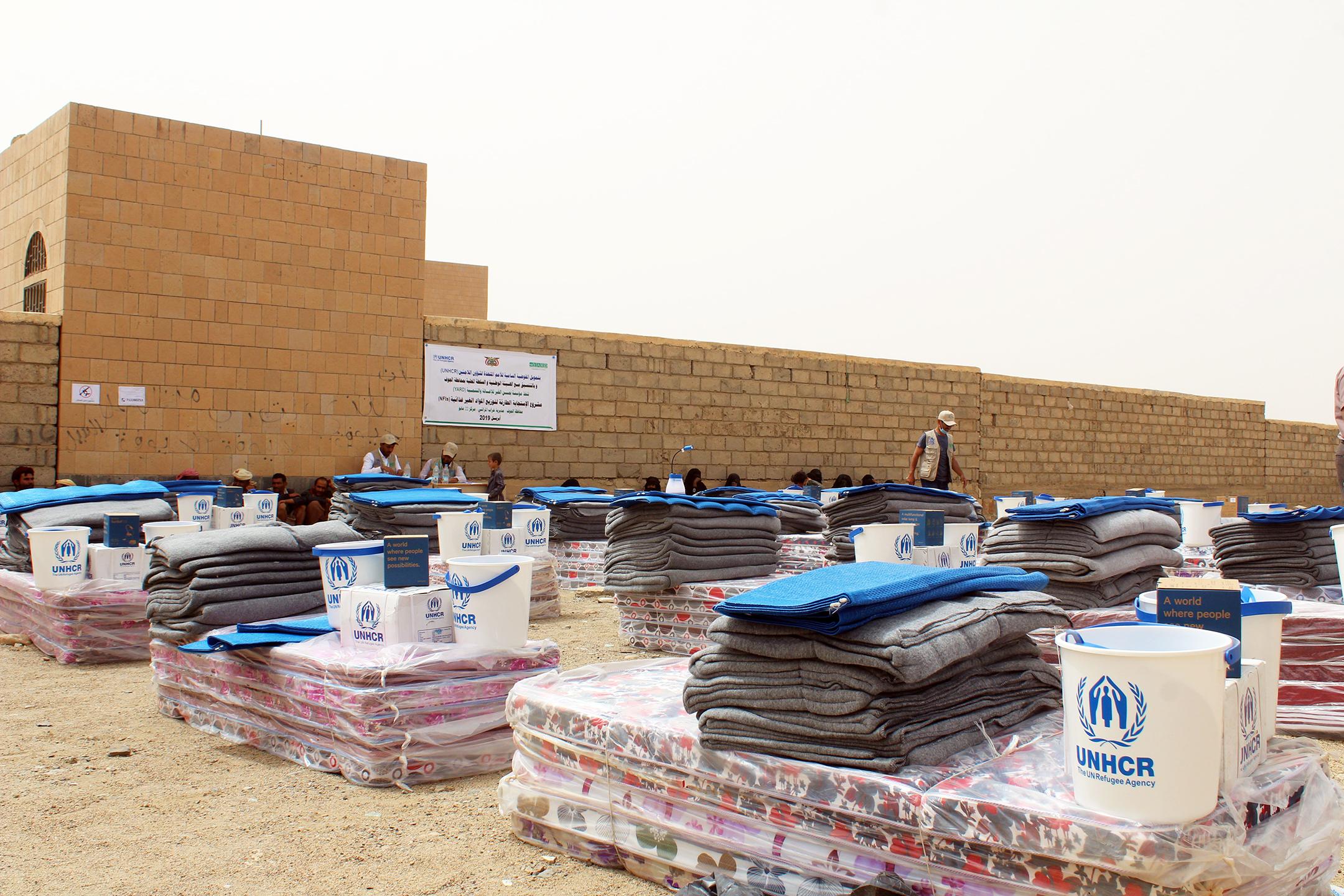 UNHCR Visit to Distribution Centers in Kharab Al-Marashi District – Al-Jawf Gov